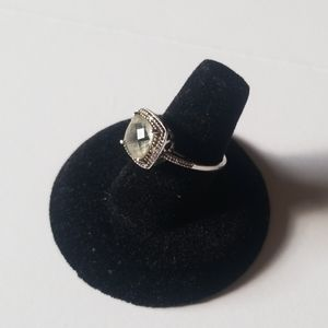 Green Amethyst and White Gold Ring